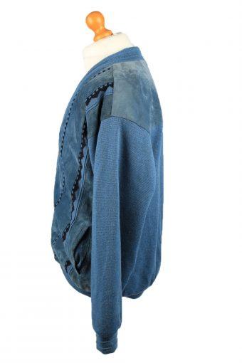 "Vintage Oncle Tom Mens Jacket Cardigan 80s 3XL Chest 51"" Blue -C2193-148029"