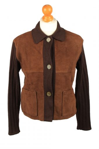 Vintage Alpha Massimo Womens Suede Leather Jacket 80s 40 Brown