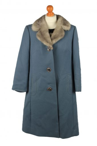 Vintage Mode Aus Meisterhand Womens Wool Overcoat Size 16 Chest 40 in Blue