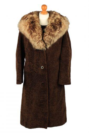 Vintage Koziarske Zavody Jasna Womens Faux Fur Neck Overcoat Size 46 Brown