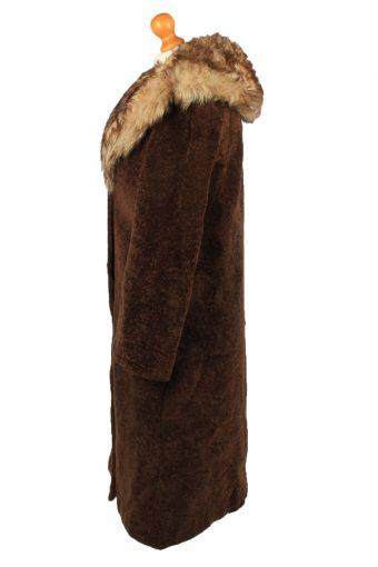 Vintage Koziarske Zavody Jasna Womens Faux Fur Neck Overcoat Size 46 Brown -C2206-148253