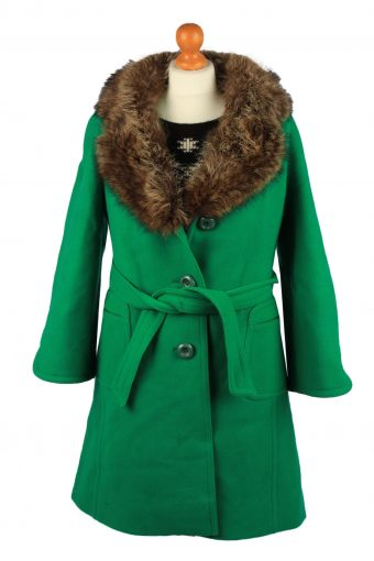 Vintage Petite Mademoiselle Womens Wool Mix Overcoat Size 12 Chest 38 in Green