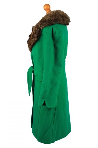 """Vintage Petite Mademoiselle Womens Wool Mix Overcoat Size 12 Chest 38"""" Green -C2208-148263"""