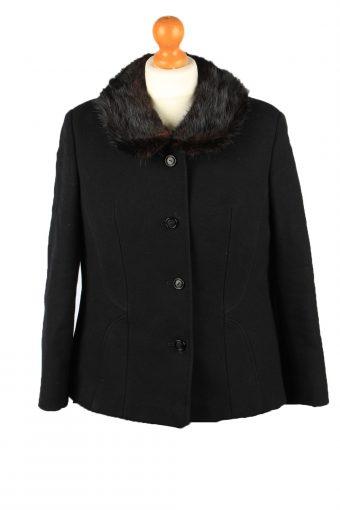 Vintage Wool Womens Jacket Coat Size 42 Black