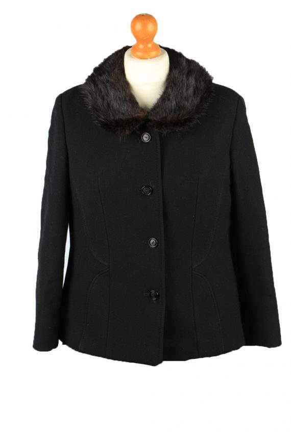 Vintage Wool Womens Jacket Coat Size 42 Black -C2209-0