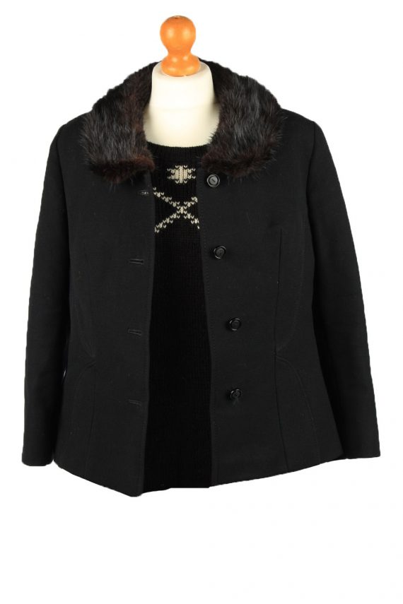 Vintage Wool Womens Jacket Coat Size 42 Black -C2209-148270