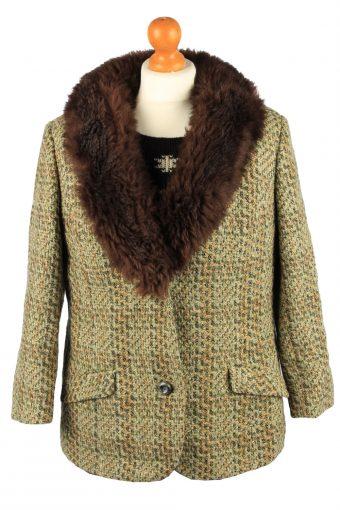 Vintage Wool Womens Faux Fur Neck Jacket Coat 42 Multi