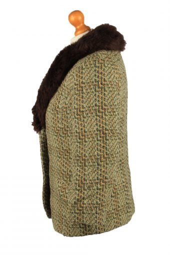 Vintage Wool Womens Faux Fur Neck Jacket Coat 42 Multi -C2213-148288