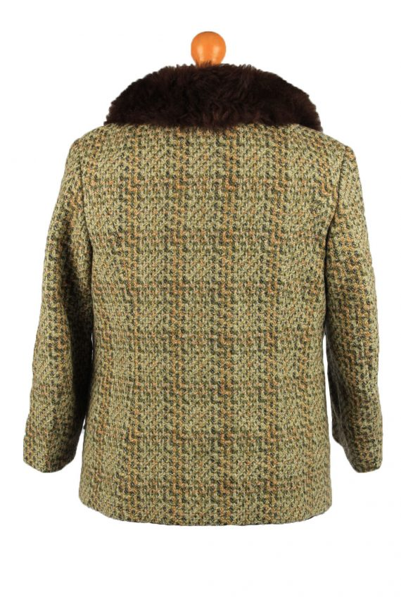 Vintage Wool Womens Faux Fur Neck Jacket Coat 42 Multi -C2213-148289