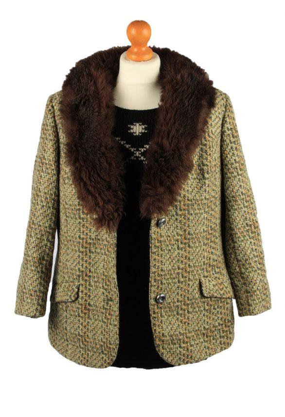 Vintage Wool Womens Faux Fur Neck Jacket Coat 42 Multi -C2213-148290