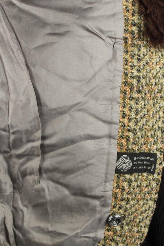 Vintage Wool Womens Faux Fur Neck Jacket Coat 42 Multi -C2213-148291