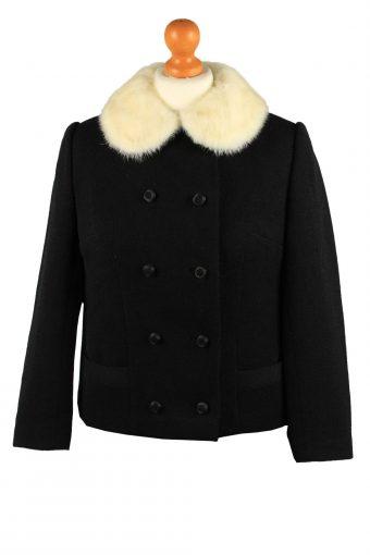 Vintage Faux Fur Neck Womens Jacket Coat Size 12 Chest37 in Black