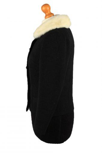 """Vintage Faux Fur Neck Womens Jacket Coat Size 12 Chest37"""" Black -C2214-148293"""