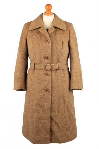 Vintage Hucke Womens Wool Mix Overcoat Size 38 Brown