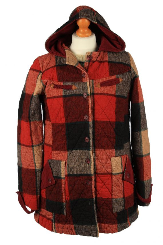 """Vintage Check Womens Hooded Coat 12 Chest 38"""" Red -C2223-0"""