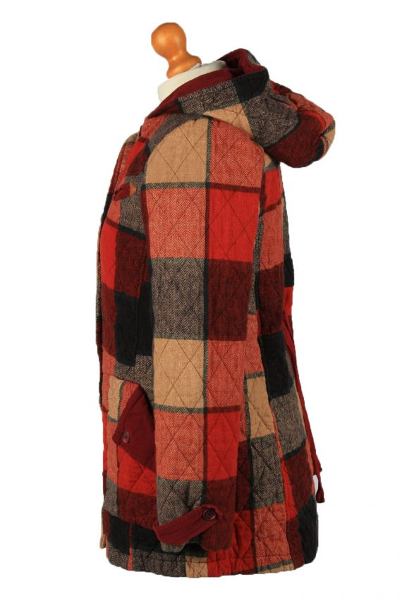 """Vintage Check Womens Hooded Coat 12 Chest 38"""" Red -C2223-148338"""