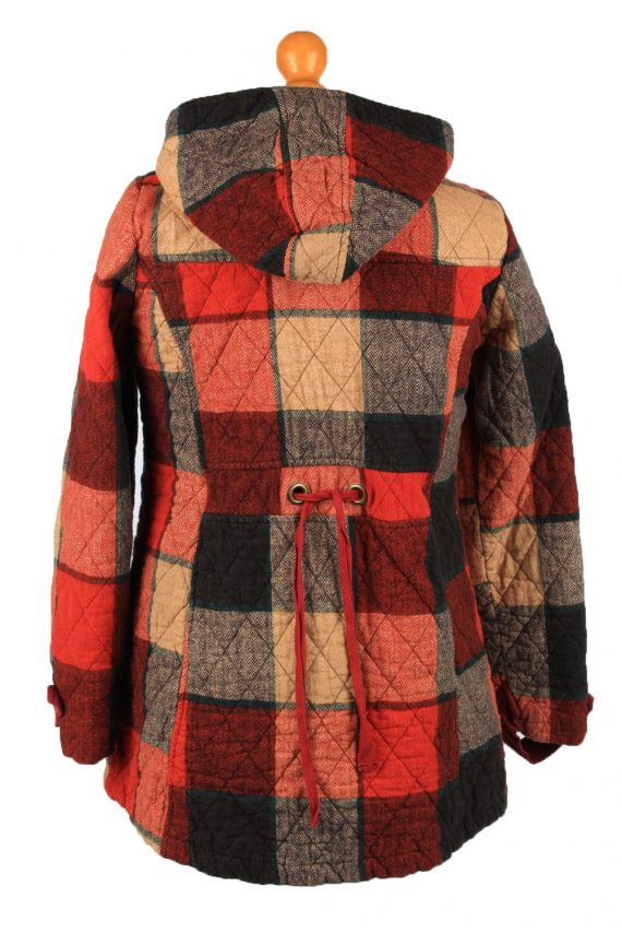"""Vintage Check Womens Hooded Coat 12 Chest 38"""" Red -C2223-148339"""