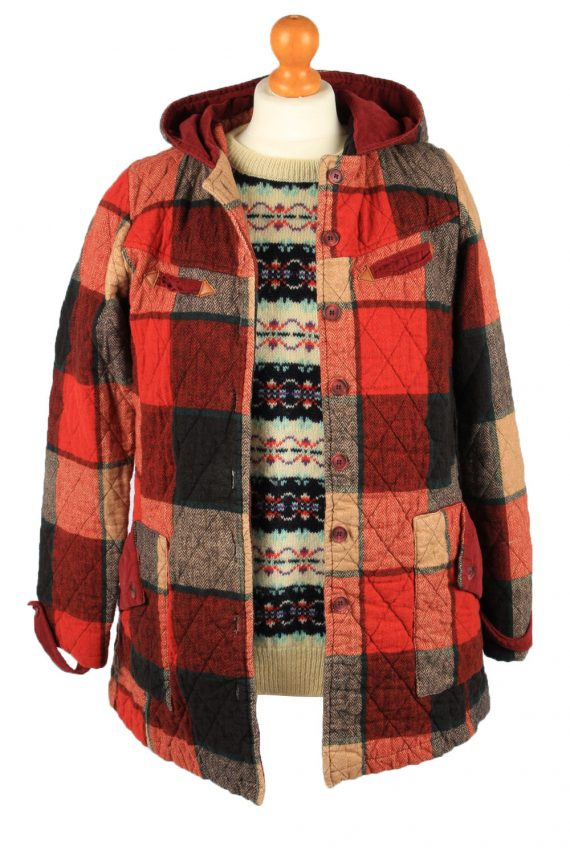 """Vintage Check Womens Hooded Coat 12 Chest 38"""" Red -C2223-148340"""