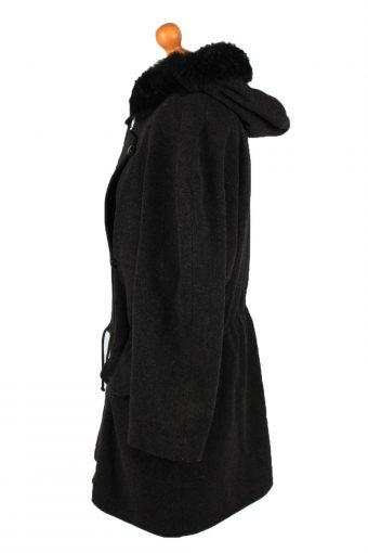 Vintage Scherer Womens Hooded Wool Mix Coat 42 Black -C2225-148348