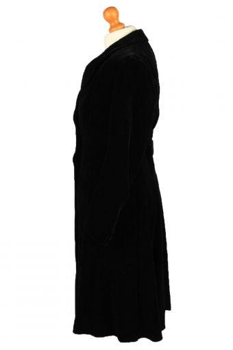 """Vintage Velvet Womens Overcoat Size 12 Chest 38"""" Black -C2226-148353"""