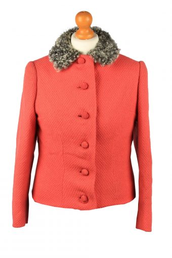 Vintage Womens Faux Fur Collar Jacket Size 10 Chest 35 in Red