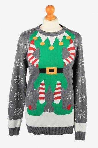 Christmas Jumper Womens Elf Body Noroze Grey M