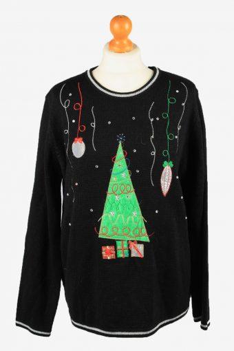 Christmas Jumper Womens Xmas Tree White Stag 90s Black XL