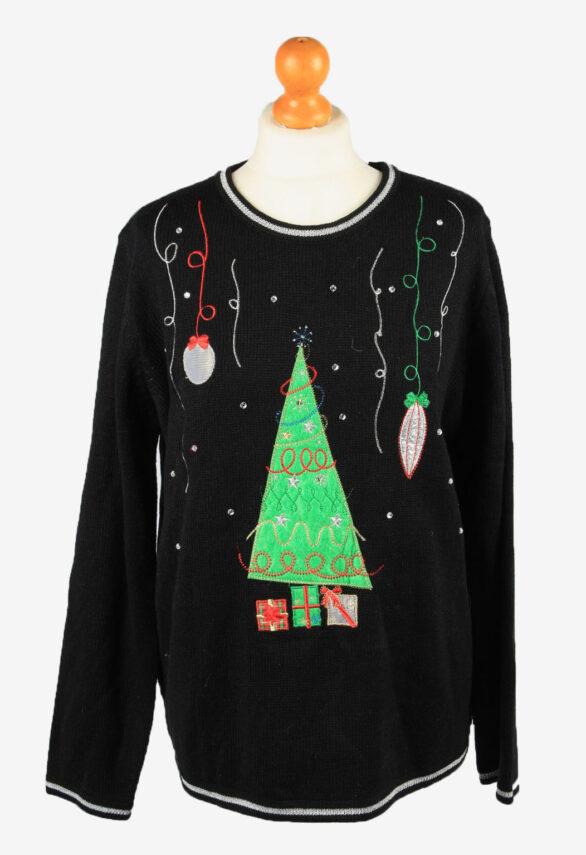 Christmas Jumper Vintage White Stag Womens Xmas Tree XL Black -IL2292-0