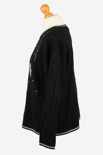 Christmas Jumper Vintage White Stag Womens Xmas Tree XL Black -IL2292-149881