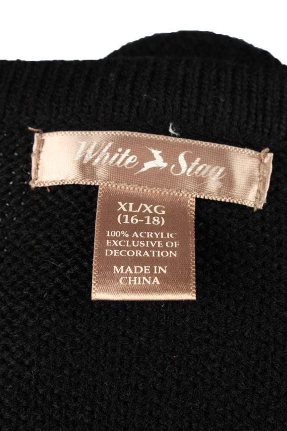 Christmas Jumper Vintage White Stag Womens Xmas Tree XL Black -IL2292-149883
