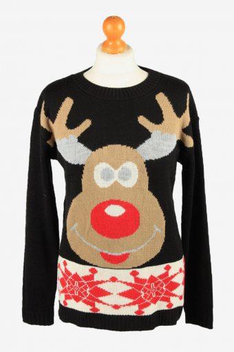 Christmas Jumper Womens Reindeer 90s Forever Black M