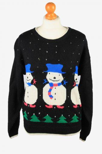 Christmas Jumper Womens Snowman Black M