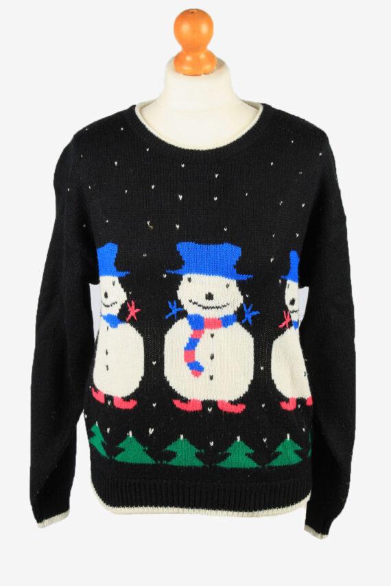 Christmas Jumper Vintage Womens Snowman M Black -IL2295-0