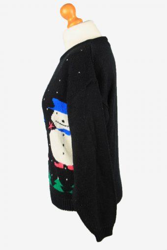 Christmas Jumper Vintage Womens Snowman M Black -IL2295-149893