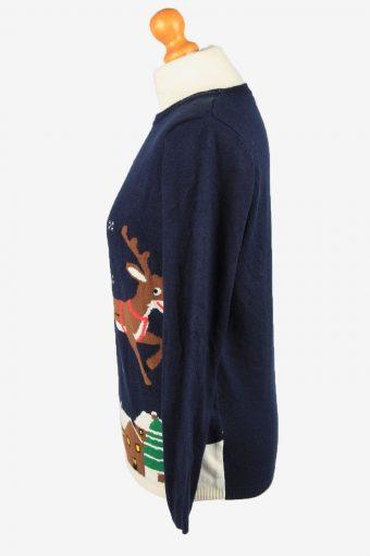 Christmas Jumper Vintage Esmara Womens Santa Jumper S Navy -IL2296-149897