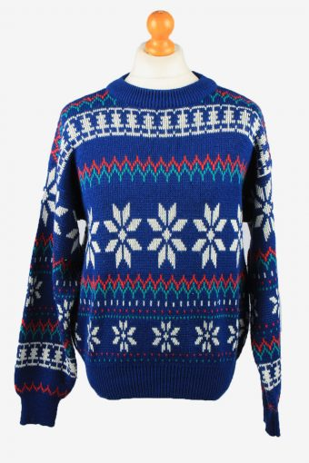 Christmas Jumper Mens Snowflake Greatland Blue L