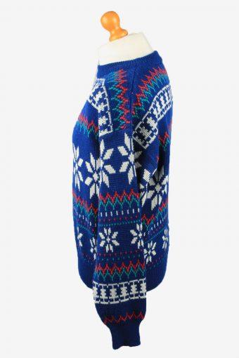 Christmas Jumper Vintage Greatland Mens Snowflake L Blue -IL2310-150103