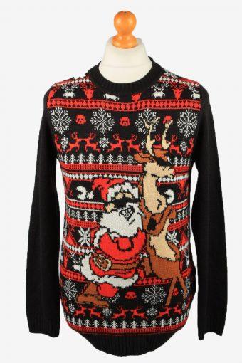 Christmas Jumper Mens Santa Claus 90s Black S
