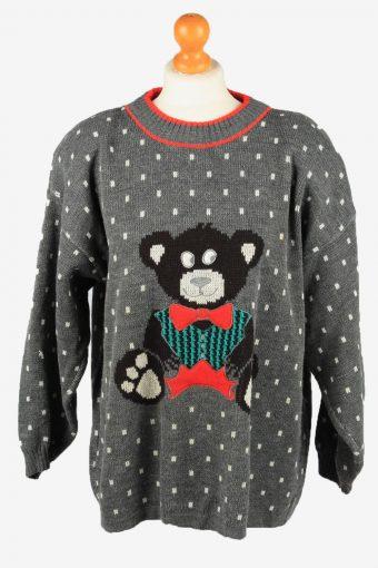Christmas Jumper Womens Bear 90s Grey XL