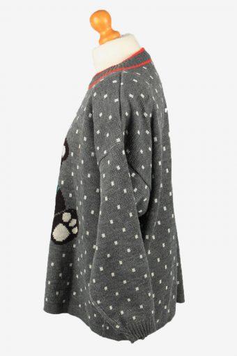 Christmas Jumper Vintage Womens Bear UK 22/24 Grey -IL2326-150167