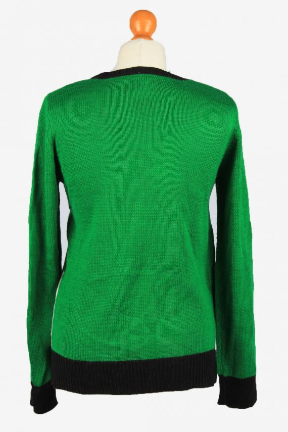 Christmas Jumper Vintage Holiday Time Womens Crew Neck S Black -IL2239-149493