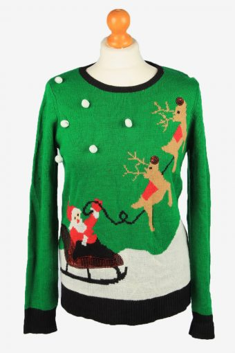 Christmas Jumper Womens Crew Neck Holiday Time Black S