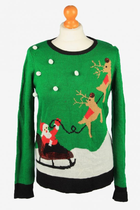 Christmas Jumper Vintage Holiday Time Womens Crew Neck S Black -IL2239-0