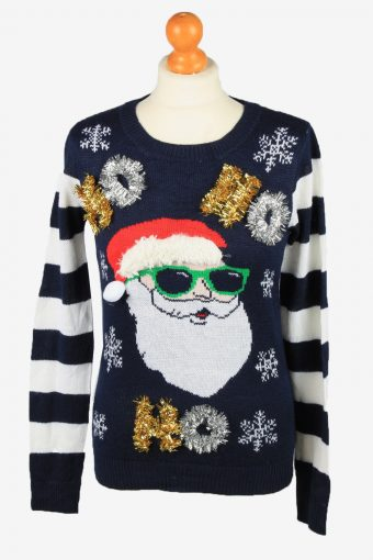 Christmas Jumper Womens Crew Neck Santa Claus NoBo Navy M