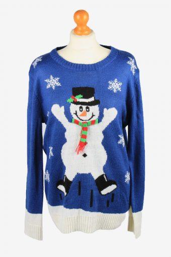 Christmas Jumper Womens Snowman Kim Rogers Blue L