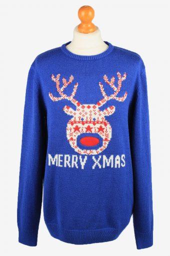 Christmas Jumper Womens Merry Xmas Angelo Litrico Blue M