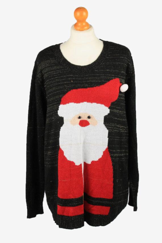 Christmas Jumper Vintage Holiday Time Womens Santa Claus 2XL Black -IL2263-0