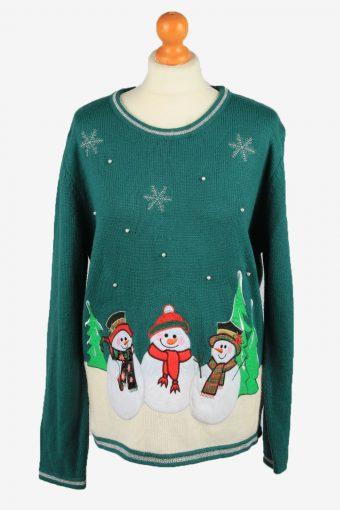 Christmas Jumper Womens Snowman 90s Green XL