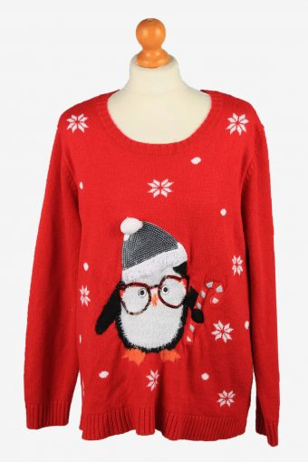 Christmas Jumper Womens Penguin Holiday Time Red XXL