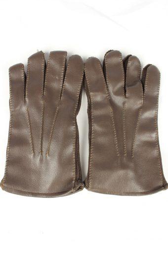 Vintage Mens Fleece Linning Gloves 90s Brown